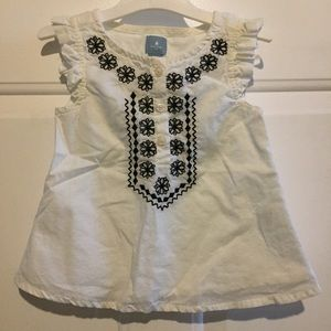BABY GAP Button Front Embroidered Smocked Top